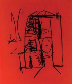 Robert Motherwell (American, 1915-1991), Seaside Studio, 1990. Etching and aquatint on Whatmore wove paper, 78.8 x 69.8 cm.