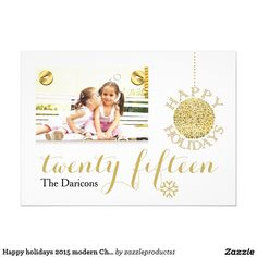 Modern and simple yet elegant and stylish Happy holidays 2015 Christmas gold flat photo card