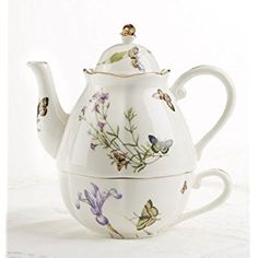 """6.6"""" Porcelain Tea for One, Butterfly"""