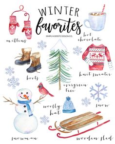 This vintage style printable of cozy winter favorites is perfect for your Christmas and winter decor! Free printable included!