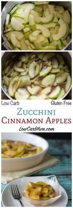 These warm low carb gluten free zucchini cinnamon apples will have you fooled. Although made from zucchini, this sweet cinnamon mix tastes just like apple pie filling. LCHF Sugar Free Keto Banting Dessert Side Dish Recipe
