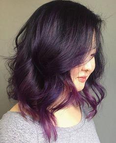 Purple Balayage, Balayage Hair, Balayage Color, Balayage Brunette, Medium Hair Styles, Curly Hair Styles, Hair Medium, Best Ombre Hair, Wavy Haircuts