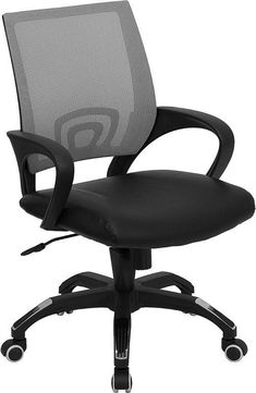 Mid-Back Gray Mesh Computer Chair with Black Leather Seat CP-B176A01-GRAY-GG by Flash Furniture