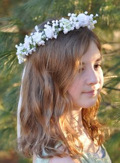 Flower Girl Wreath, First Communion Wreath, Wedding Flowers, White Silk Rose and Babies Breath Hair Crown at Holly's Flower Shoppe.