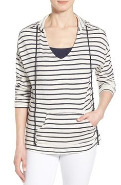 Gibson Stripe V-Neck High/Low Hoodie available at #Nordstrom