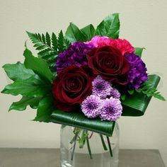 Purple & Red Small Floral Centerpiece