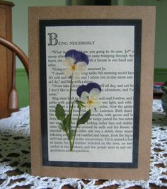 Pressed Flower Greeting Card on page from Little Women