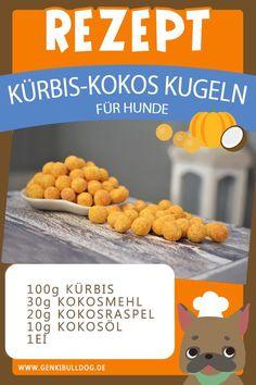 Hundekekse Rezept: Kürbis-Kokos Kugeln für Hunde selbst backen -www.genkibulldog.de