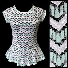D5 Chevron Mint Green White Metallic Peplum Top ‼️ PRICE FIRM UNLESS BUNDLED WITH OTHER ITEMS FROM MY CLOSET ‼️   White, metallic gold threading & beautiful mint green colors. Lots of stretch to this top.  Looks great with a white or gold tank top under it (not included). This is a spectacular top with beautiful metallic threading.  I have tried (unsuccessfully) to capture this in the photos. You are sure to cherish this top for years!  50% polyester, 40% nylon, 6% metallic & 4% spandex…