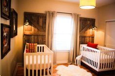 Love this rustic look.  But only one crib ;)