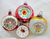4 Glass Christmas Vintage Indent Ornaments 1950's 1960's Christmas Decor