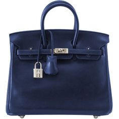 HERMES BIRKIN 25 Marine Bleu Barenia Palladium coveted RARE ❤ liked on Polyvore featuring bags, handbags, hermes bag, hermes purse, hermes handbags, blue handbags and blue purse