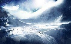 Download 1920x1200 trees, planet, earth, sky, stars, skiers, research Wallpaper Widescreen WallpapeprsCraft