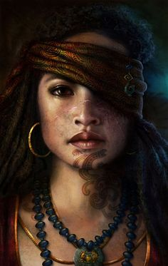 """Maori Pirate Princess"" - Nathascha Friis, photoshop {figurative realism art beautiful female head scar young woman face portrait digital painting} http://artbynath.deviantart.com"
