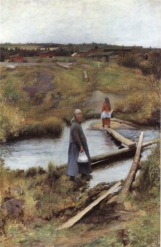 Oijustie (The Short Cut), 1892 by Pekka Halonen on Curiator, the world's biggest collaborative art collection. Collaborative Art, Scandinavian Art, A4 Poster, Nature Paintings, Vintage Artwork, Heritage Image, Glasgow, Les Oeuvres, Photo Wall Art