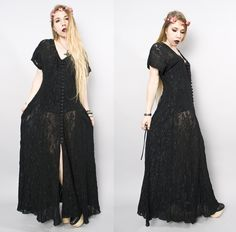 """90s black lace dress with full skirtfloral stretch lace with corset tie backoversized fit with full button placket at frontbuttons completely functional can also be worn open as a duster jacket.Chest: 20"""" x2Waist: 16"""" x2Hips: 25"""" x2Bottom Flare: 48""""Shoulder: about 17""""Sleeve: about 5.5""""Length: 52""""Estimated Size: One Size/Free SizeTag Size: n/aCondition: Great"""