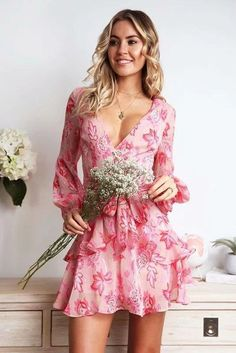 Pink Floral Print Wrap Tied Waist Ruffles V Neck Casual Dress Tie Dress, Ruffle Dress, Ruffles, Backless Mini Dress, Long Sleeve Mini Dress, Dresses Short, Ladies Dresses, Mini Dresses, Bohemia Dress