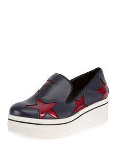 X3JLT Stella McCartney Binx Faux-Patent Star Platform Sneaker, Black/Multi
