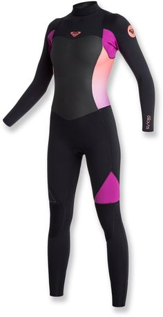 f0611cea6d Women s Roxy Wetsuits - Roxy Syncro GBS Back Zip Wetsuit - Black  Violet   Coral  Flame