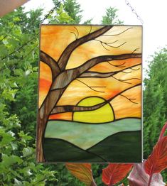 Birch+Sunrise++Stained+Glass+panel+by+Handcraftcottage+on+Etsy,+$65.00