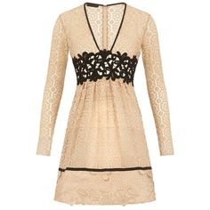 Burberry Patchwork Lace Dress ❤ liked on Polyvore featuring dresses, lace dress, lace cocktail dress, burberry, beige lace dress and lacy dress