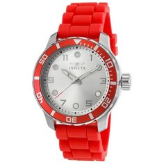 Invicta Women's Angel Red Polyurethane Silver-Tone Dial (5370 DZD) ❤ liked on Polyvore featuring jewelry, watches, red, bezel watches, invicta, water resistant watches, red watches and silvertone watches