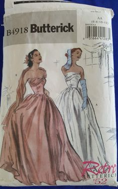 Retro Fashion Butterick RETRO Vintage Evening Dress Ball Gown Sewing Pattern 4918 UNCUT Plus Size - Butterick Retro Vintage Style Evening Dress/Ball Gown Sewing Pattern.Pattern 4918 is uncut and in factory folds.Sizes 18 and 20 which will fit a bust. Country Wedding Dresses, Modest Wedding Dresses, Boho Wedding Dress, Gown Wedding, Bling Wedding, Bridal Gown, Mermaid Wedding, Fall Wedding, Prom Dresses