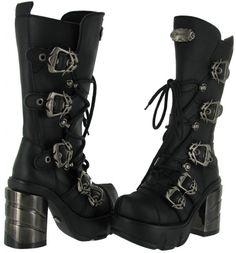 Demonia Sinister Chrome Heel Calf Boots :: VampireFreaks Store :: Gothic Clothing, Cyber-goth, punk, metal, alternative, rave, freak fashions