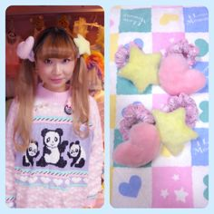 puffy heart and star twin tail holders by Spank me, darling!