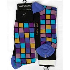 Black-Purple-Blue Mosaic Squares Mens Dress Sock - Foot Traffic