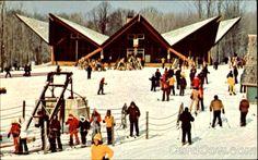 caberfae. ski. skyview cafeteria. cadillac, michigan. vintage. postcard.