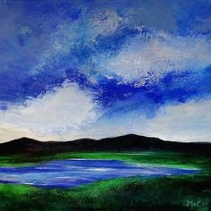 Atmospheric oil Painting on canvas of clouds over one of the Killarney Lakes.