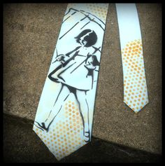 Graffiti Art Necktie Polka Dot Hand Painted by thefactory101, $25.00