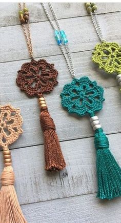 What to do with leftover yarn? Idea 55 - Jewelry How To, New 2019 - Page 40 of 55 - Sch . What to do with leftover yarn? Idea 55 - Jewelry How To, New 2019 - Page 40 of 55 - Apron Basket .com - knitting is as e. Crochet Jewelry Patterns, Crochet Accessories, Knitting Patterns, How To Crochet Jewelry, Knitted Jewelry, Crochet Jewellery, Beaded Jewelry, Jewelry Rings, Fine Jewelry