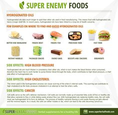 Enemy Foods - Hydrogenated Oils http://www.superherbalfoods.com/herbal-remedies/hydrogenated-oils-enemy-foods.php