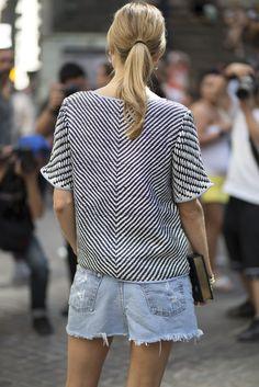 Textured look top and a book clutch dress up these denim cutoffs   www.bold-in-gold.com #boldingoldblog
