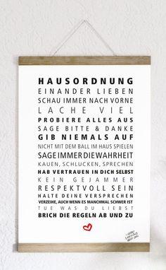 Typo: Regeln für ein glückliches Zusammenleben, Hausordnung / typo: lucky living together, house rules  by Formart via DaWanda.com