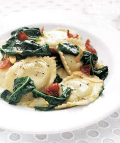 Ravioli With Spinach and Bacon | Get the recipe for Ravioli With Spinach and Bacon.