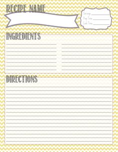 Printable Recipe Card.