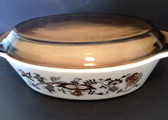 Pyrex Brown Blue Onion Oval Casserole Dish with Brown England Rare Vintage #Pyrex