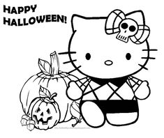HELLO KITTY COLORING PAGE FOR HALLOWEEN