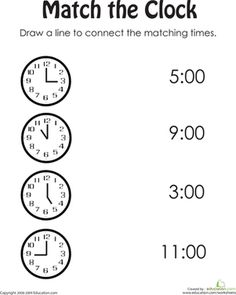 Help your child practice her time telling with this printable kindergarten worksheet.