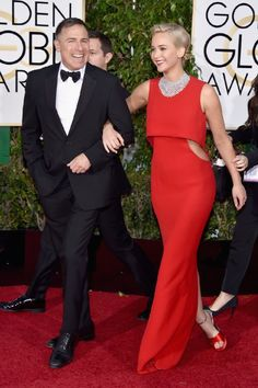 David O. Russell and Jennifer Lawrence at event of 73rd Golden Globe Awards (2016)