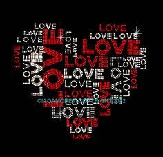 Valentine's day Large Love Love Love heart rhinestone iron on hotfix transfer bling DIY
