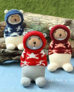 "Sew cute sock beaver, Bob, with hoodie sweater, hood can be taken down. Bob is 9"" tall sewn from chenille sock set. Easy guide fr pictures & instructions. – Page 2 of 2"