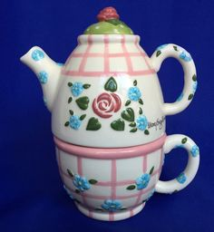 Mary Engelbreit Tea For One Teapot and Cup Individual Pink Green 1998 Enesco VTG #MaryEngelbreit