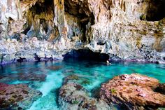 Avaiki Cave Filled with Warm Crystal Clear Water in Niue