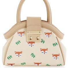 Mori Animal Prints Fox Leather PU Lock Beige Top-Handled Embroidery Zipper Women's Shoulder Bag Crossbody Bags Hobos Lady Totes