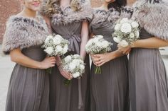 Love the dress color and the use of the fur on the bridesmaids! Very pretty