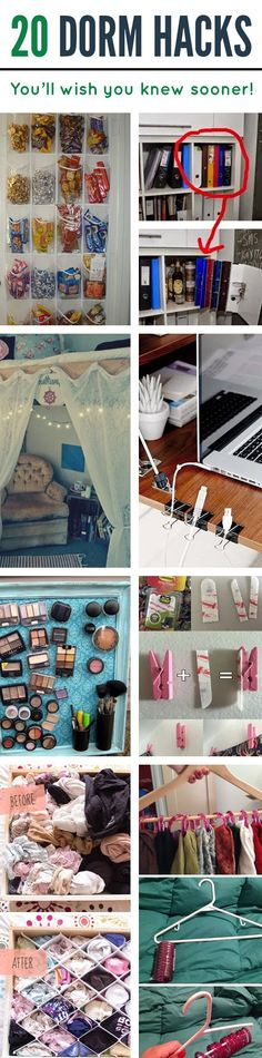 20 Dorm Hacks You'll Wish You Knew Sooner is part of crafts Room Hacks - Amazing dorm hacks for college life and dorm living that will help you out so much! These are trips and tricks that you'll wish you knew way sooner! College Life Hacks, Dorm Life, College Dorm Rooms, College Tips, College Ready, College Apartments, Usc Dorm, Freshman Advice, College Crafts